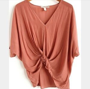 F21 | Contemporary Coral Mauve Knotted Top